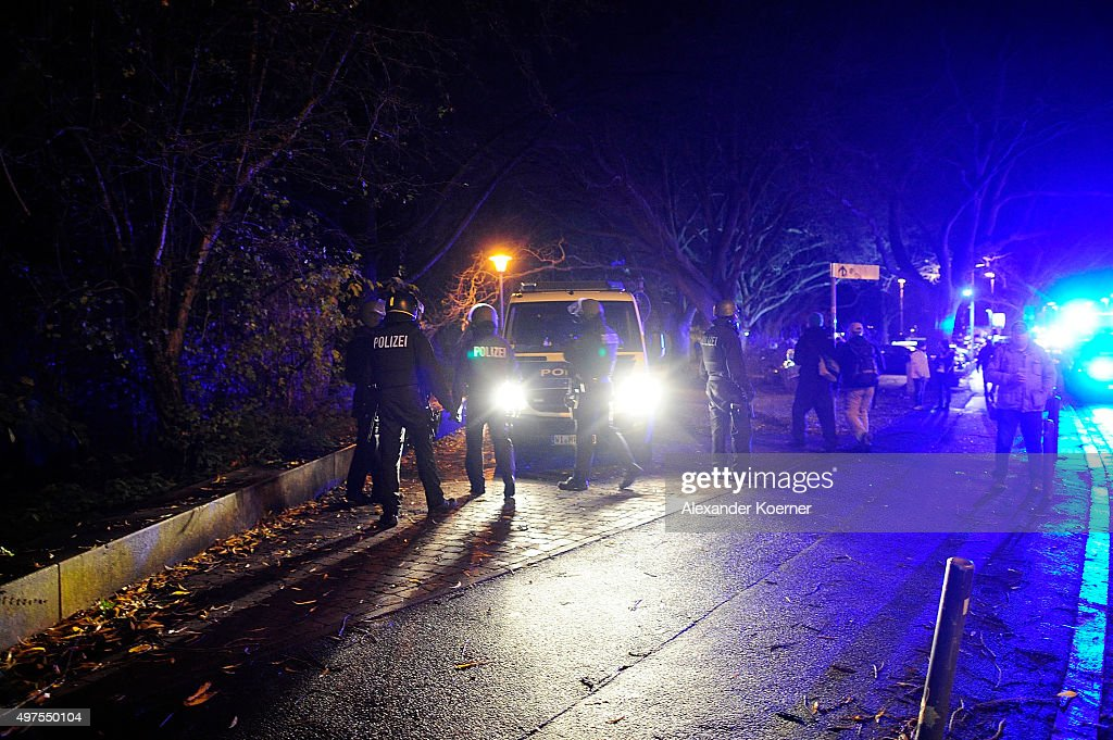 Special forces secure the HDIArena after a bomb alert prior the match Germany against the Netherlands at the HDIArena on November 17 2015 in Hanover...