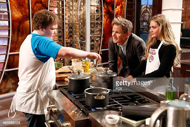 Special guest and Gordon Ramsays daughter Matilda Ramsay Checks on contestant Andrew's dish in the Junior Edition Family Style episode of MASTERCHEF...