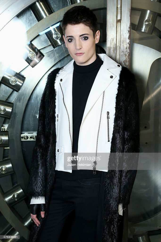 Special guest and model Harry Brant poses backstage prior the IRFE by Olga Sorokina show as part of the Paris Fashion Week Womenswear Fall/Winter 2014-2015 on February 27, 2014 in Paris, France.