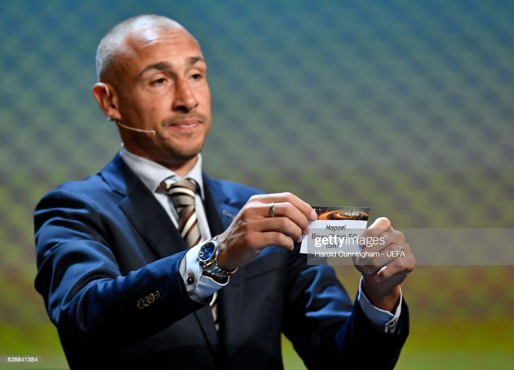 Special guest Henrik Larsson draws out the name of H. Beer-Sheva during the UEFA Europa League 2017/18 Group Stage Draw part of the UEFA ECF Season Kick Off 2017/18 on August 25, 2017 in Monaco, Monaco.