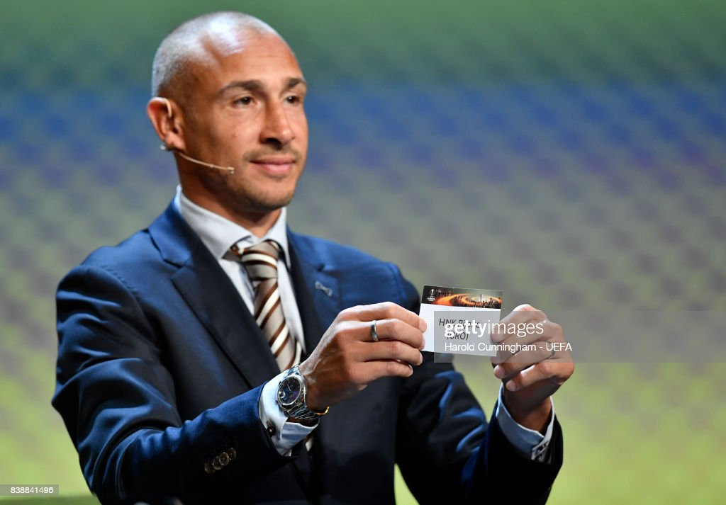 Special guest Henrik Larsson draws out the name of Rijeka during the UEFA Europa League 2017/18 Group Stage Draw part of the UEFA ECF Season Kick Off 2017/18 on August 25, 2017 in Monaco, Monaco.