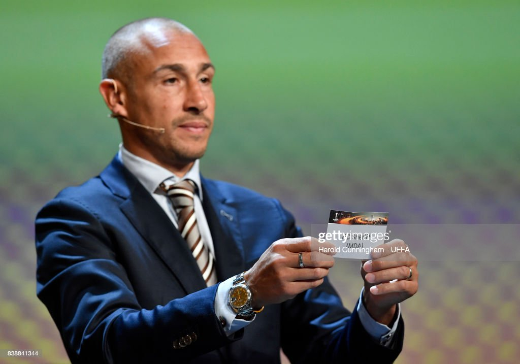 Special guest Henrik Larsson draws out the name of Sheriff during the UEFA Europa League 2017/18 Group Stage Draw part of the UEFA ECF Season Kick Off 2017/18 on August 25, 2017 in Monaco, Monaco.