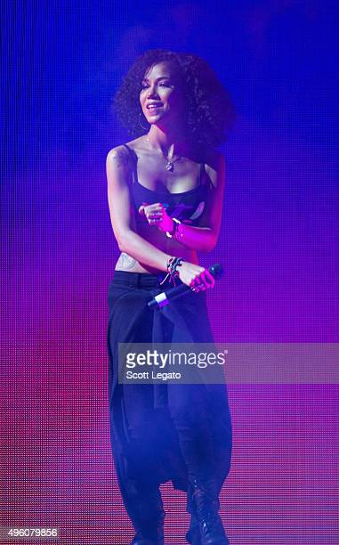 Special guest Jhene Aiko performs with Big Sean in concert his hometown of Detroit at Joe Louis Arena on November 6 2015 in Detroit Michigan