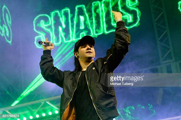 Special guest record producer Skrillex performs onstage with DJ Snails during day 2 of the 2016 Coachella Valley Music Arts Festival Weekend 1 at the...