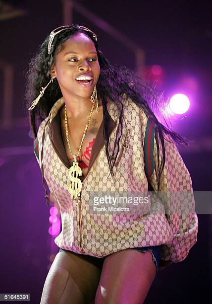 Special guest singer Foxy Brown performs on the 'Best of Both Worlds' tour November 1 2004 at Madison Square Garden in New York City The tour was...