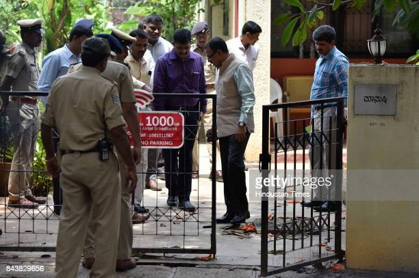 Special Investigation Team investigates the spot where senior journalist Gauri Lankesh was killed on 5th September night at RR Nagar on September 7...