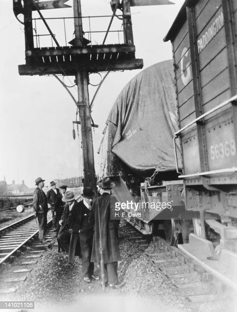 A special London Midland and Scottish Railway train carrying a 42ton stator yoke at Lots Road Battersea London 2nd September 1934 The train is on its...