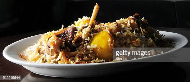 Special Lucknowi Bengali dish named Calcutta Nawabi Mutton Biryani prepared by Manzilat Fatima at Ta'aam Restaurant on February 20 2015 in Kolkata...