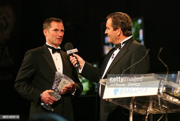Special Merit Award winner John McDermott speaks to Jeff Stelling at the PFA Player of the Year Awards 2009 at the Grosvenor House Hotel London