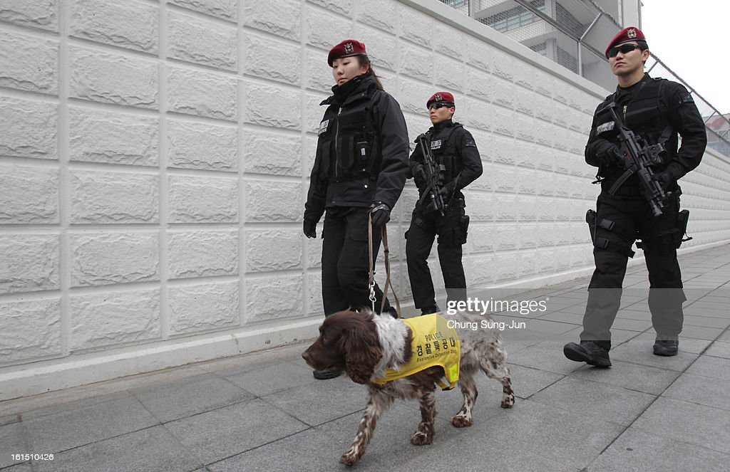 Special metropolitan police patrol at the U.S. embassy on February 12, 2013 in Seoul, South Korea. North Korea confirmed it had successfully carried out an underground nuclear test, as a shallow earthquake with a magnitude of 4.9 was detected by several international monitoring agencies. South Korea and Japan both assembled an emergency meeting of their respective national security teams after the incident.