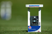 Special miniature Marathon gas pumps representing the tournament's namesake were the tee markers at the 15th tee during the first round of the...
