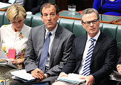 Special Minister of State Mal Brough and Minister for Industry Innovation and Science Christopher Pyne during House of Representatives question time...