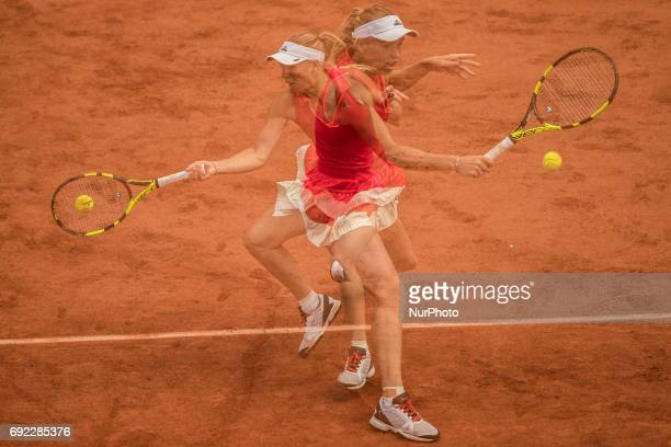Special multi exposure capture about Caroline Wozniacki of Denmark returns the ball to Svetlana Kuznetsova of Russia during the fourth round at...
