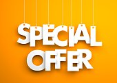Special offer - text hanging on the strings. 3d illustration