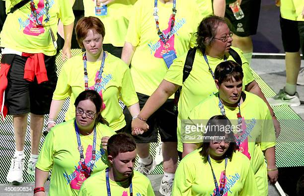 Special Olympic athletes attend the 2014 Special Olympics USA Games Opening Ceremony at Prudential Center on June 15 2014 in Newark New Jersey