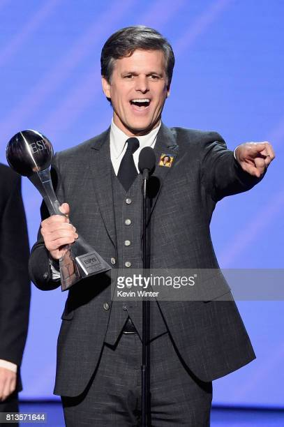 Special Olympics Chairman Timothy Shriver accepts the Arthur Ashe Courage Award on behalf of his late mother Special Olympics founder Eunice Kennedy...