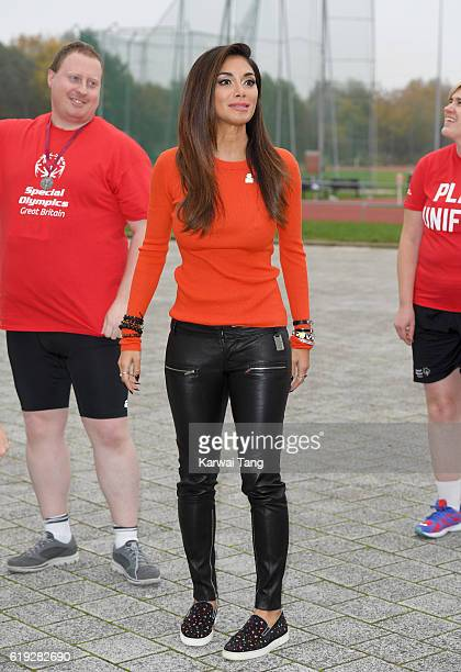 Special Olympics Global Ambassador Nicole Scherzinger attends a Special Olympics event at Lee Valley Athletics Indoor Arena on October 30 2016 in...