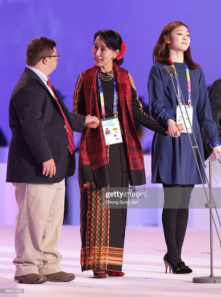 Special Olympics global messenger Ariel Ary of Costa Rica, Pro-democracy leader Aung San Suu Kyi and honorary ambassador Yuna Kim attend the Opening Ceremony of the 2013 Pyeongchang Special Olympics World Winter Games at the Yongpyeong stadium on January 29, 2013 in Pyeongchang-gun, South Korea.