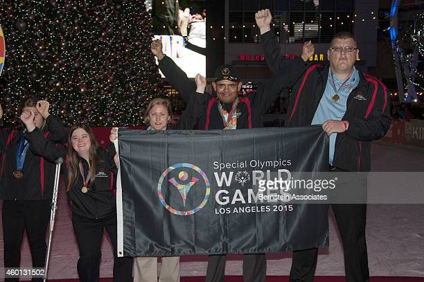 Special Olympics Global Messengers attend AEG's Season of Giving Event at LA Live on December 7 2014 in Los Angeles California