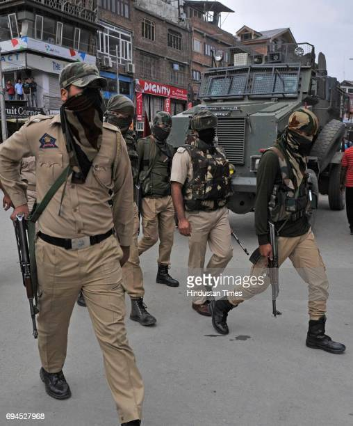 Special operation Group personnel launch a cordonandsearch operation in commercial hub of Lal Chowk after reports of presence of militants in the...