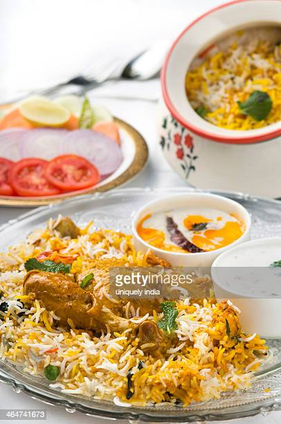 Special Peshwari Chicken Biryani served in a plate