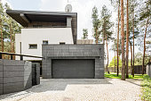 Shot of a big modern house and its garage