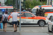 Special Police units waiting for new orders in Munich Germany on July 22 2016 Nine people have been killed and many wounded in a gun attack at a...