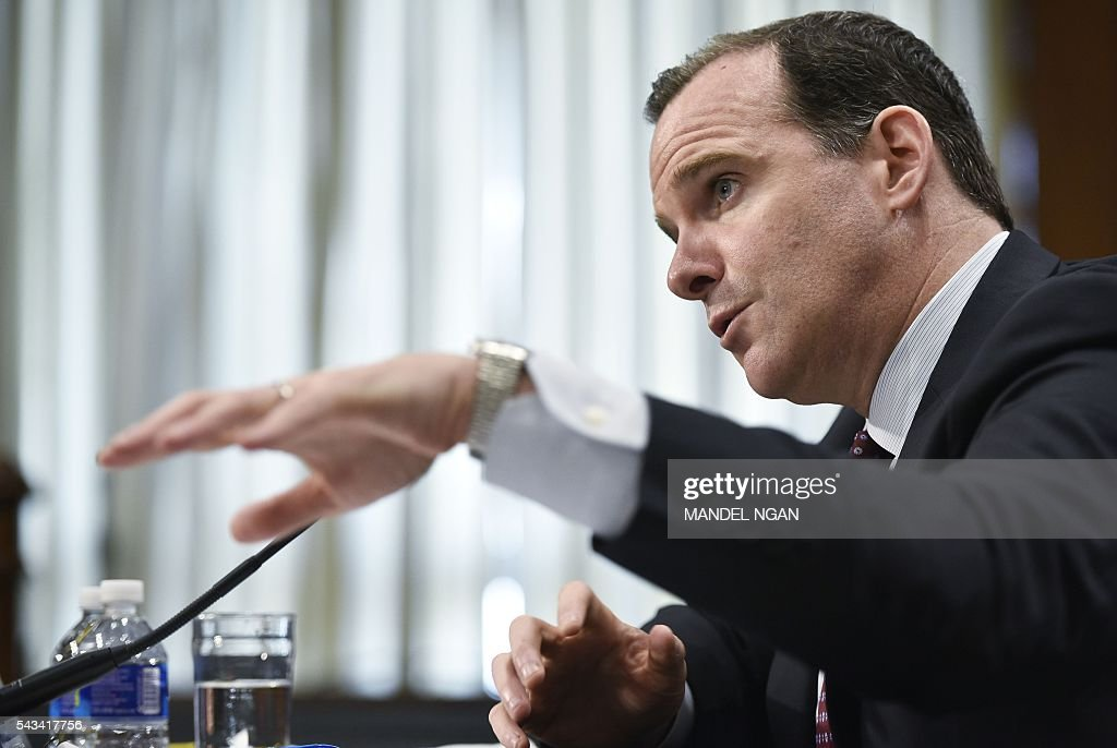 Special Presidential Envoy for the Global Coalition to Counter ISIL, Brett McGurk, testifies before the Senate Foreign Relations Committee on global efforts to defeat ISIS on Capitol Hill in Washington, DC on June 28, 2016. / AFP / MANDEL