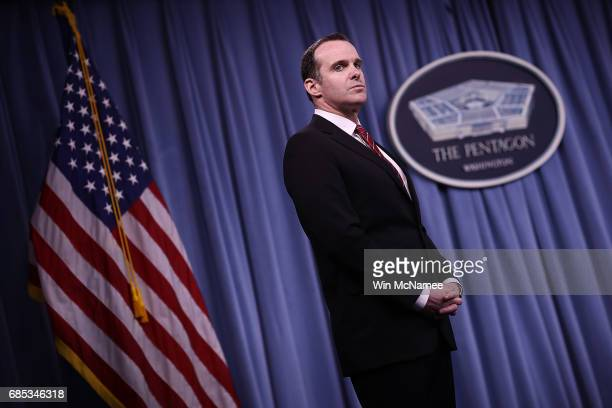 Special Presidential Envoy for the Global Coalition to Counter ISIS Brett McGurk listens to questions from reporter during a Pentagon briefing May 19...