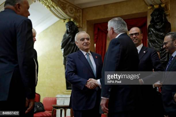 Special Representative Ghassan Salame center left from Lebanon shakes hands with US Secretary of State Rex Tillerson watched by from left Egypt's...
