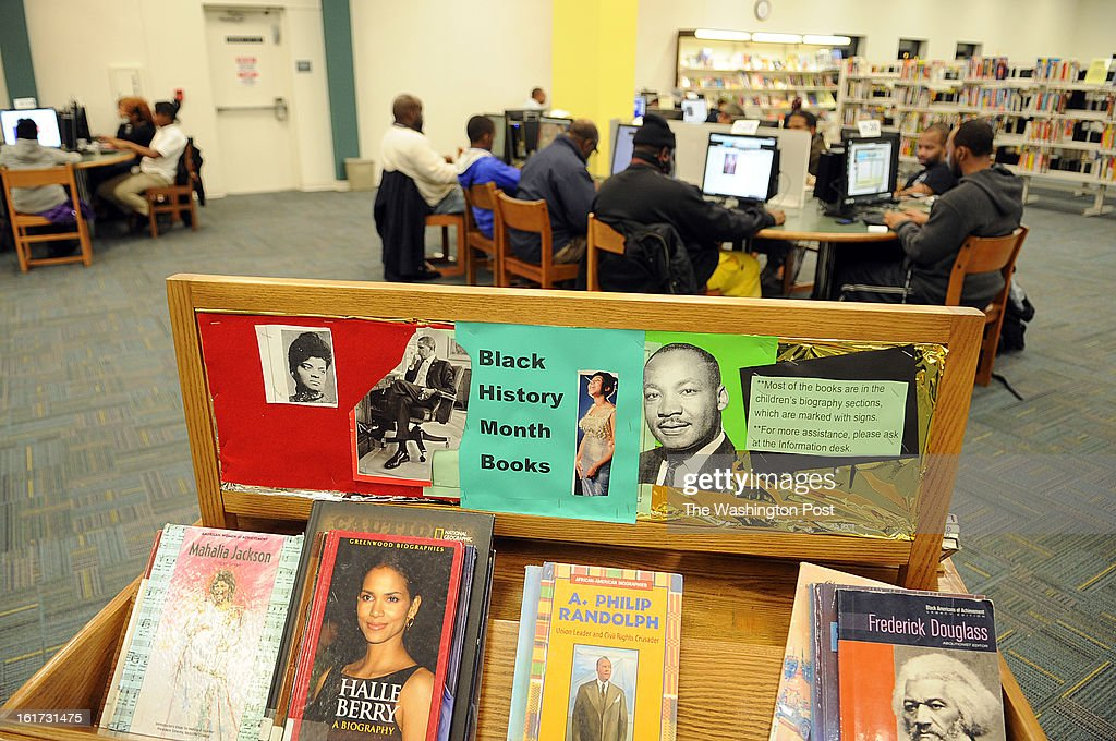 A special selection of books chosen to address the Black History Month are placed inside the Spauldings library which is part of Prince George's library system. The library is, according to its branch manager, Victoria Johnson, very crowded throughout the week, particularly during the long opening hours on Mondays and Tuesdays. This robust library, community center, Internet cafe fills many needs in this lower middle class community, but the county's 19 libraries are threatened by budget cuts.