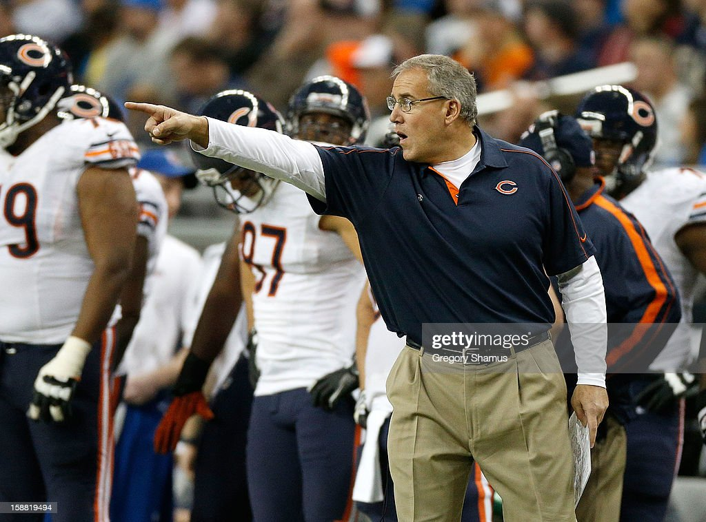Special Teams coach Dave Toub directs his players during a kickoff while playing the Detroit Lions at Ford Field on December 30, 2012 in Detroit, Michigan. Chicago won the game 26-24.