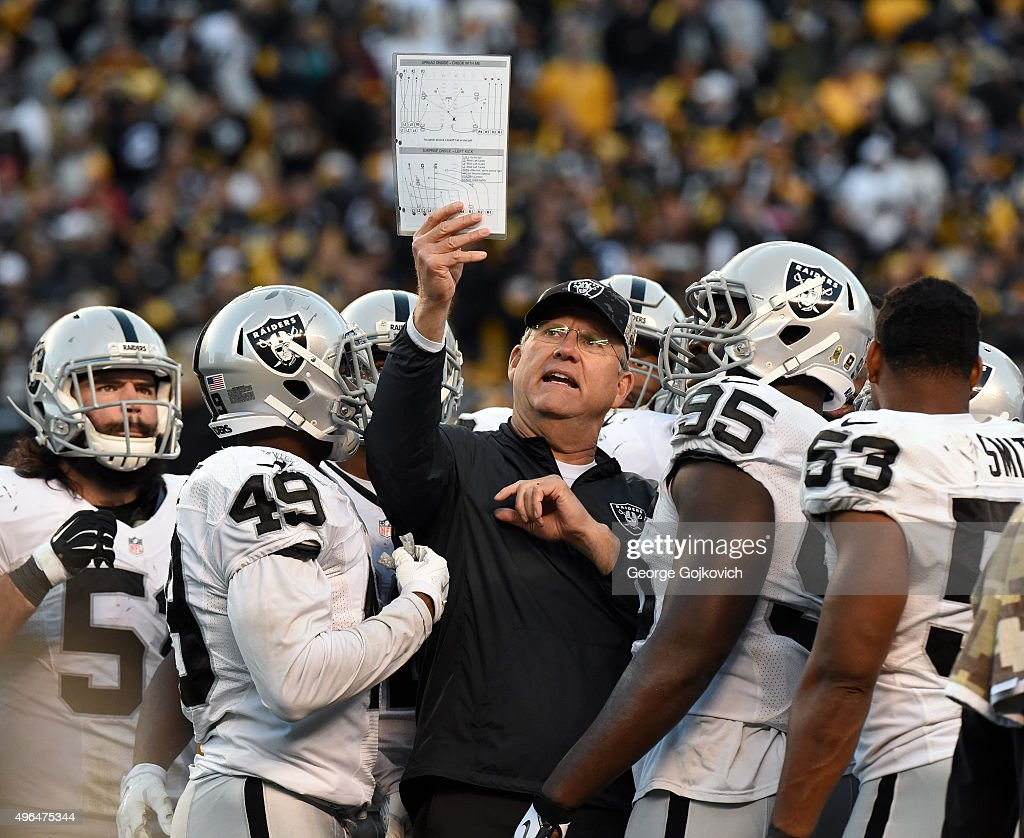 Special teams coordinator Brad Seely of the Oakland Raiders shows a play chart to <a gi-track='captionPersonalityLinkClicked' href=/galleries/search?phrase=Ben+Heeney&family=editorial&specificpeople=9689082 ng-click='$event.stopPropagation()'>Ben Heeney</a> (L), <a gi-track='captionPersonalityLinkClicked' href=/galleries/search?phrase=Jamize+Olawale&family=editorial&specificpeople=9636684 ng-click='$event.stopPropagation()'>Jamize Olawale</a> #49, <a gi-track='captionPersonalityLinkClicked' href=/galleries/search?phrase=Benson+Mayowa&family=editorial&specificpeople=9989694 ng-click='$event.stopPropagation()'>Benson Mayowa</a> #93, <a gi-track='captionPersonalityLinkClicked' href=/galleries/search?phrase=Malcolm+Smith+-+American+Football+Player&family=editorial&specificpeople=11360688 ng-click='$event.stopPropagation()'><a gi-track='captionPersonalityLinkClicked' href=/galleries/search?phrase=Malcolm+Smith+-+Politician&family=editorial&specificpeople=11360718 ng-click='$event.stopPropagation()'>Malcolm Smith</a></a> #53 and other players during a game against the Pittsburgh Steelers at Heinz Field on November 8, 2015 in Pittsburgh, Pennsylvania. The Steelers defeated the Raiders 38-35.