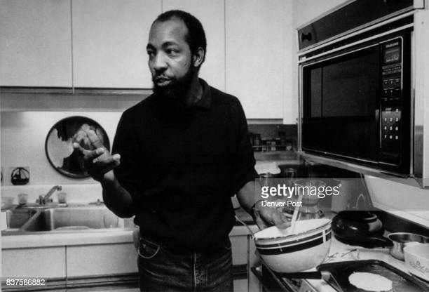 Special to Denver Post shows Stoney Cooks aide to Atlanta Mayor Andy Young discusses his thoughts of Gary Hart while preparing pancakes for his...