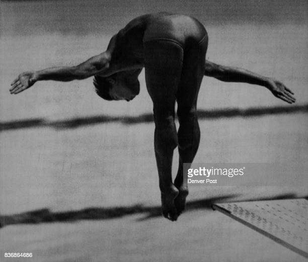 China's Li Hongping shows his form in men's springboard diving competition DP/Bakke Olympic Games 1984 Summer