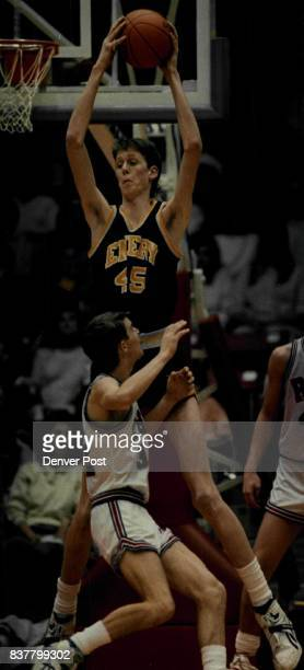 Special To The Denver PostAuthorizing Editor John EppersonEmery High School Center Shawn Bradley rebounds during Utah State 2A basketball...