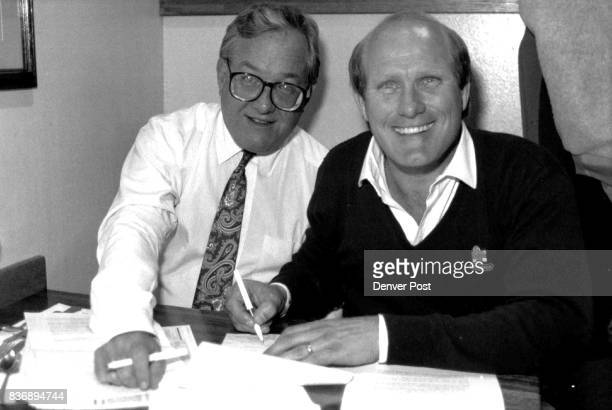 Special Transmision to Jacksonville Fla Attn Mike Richey Sports Dept Photo of Denver Post Columnist Buddy Martin pictured here with former Steelers...