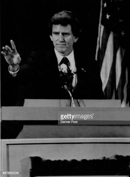 Special Transmission For The Denver Post Colo Sen Gary Hart gestures as he addresses the Democratic National Party Conference at the Philadelphia...