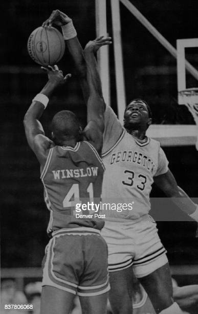 Special Transmission for the Denver PostThis photo of Georgetown's Patrick Ewing stuffing the ball against Houston's Rickie Winslow is transmitted at...