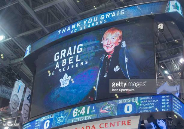 A special tribute was announced on the scoreboard for Toronto Maple Leafs team photographer Graig Abel who will be retiring after 40 seasons behind...