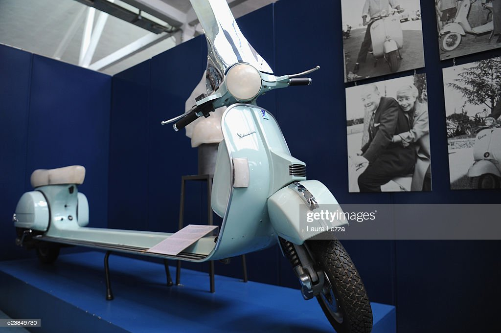 A special Vespa is displayed during the exhibition for the celebration of 70 years of the Vespa scooter in the Piaggio museum on April 24, 2016 in Pontedera, Italy. Vespa was born on April 23, 1946 following the end of World War II and is considered the world's best-selling scooter and one of the brands of Italian excellence