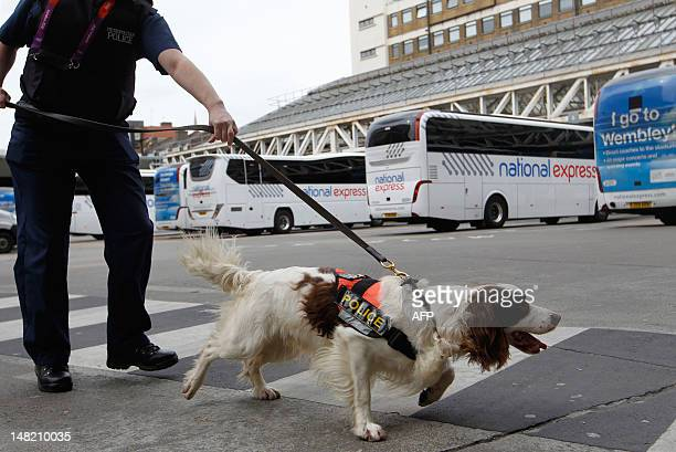 Specialist police dog 'Chester' searches Victoria Coach Station in central London on July 12 in the run up to 2012 London Olympic Games which starts...
