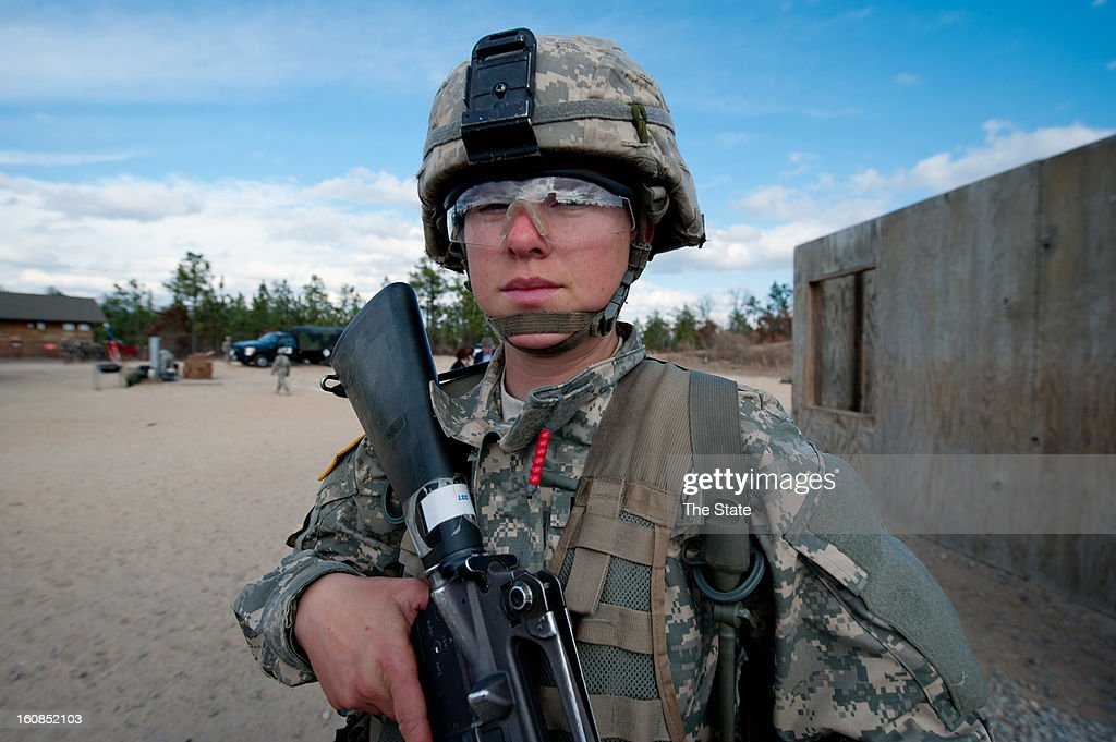 Specialist Rebecca Hill, of Lacey, Washington, is seen during training at Fort Jackson, January 30, 2013. 'As long as they can handle it I think it's a good thing to have women in combat' said Hill.
