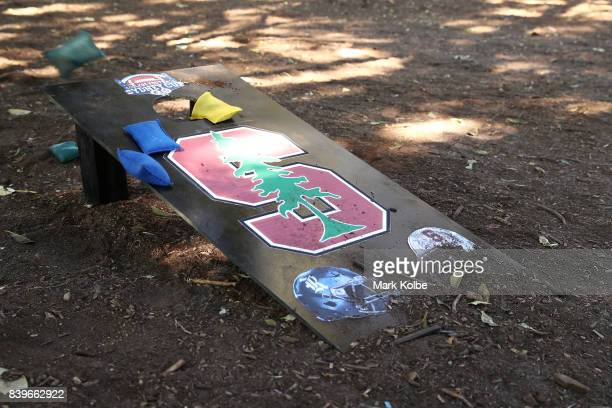 A specially made cornhole board is seen as football fans tailgate in the carpark before the College Football Sydney Cup match between Stanford...