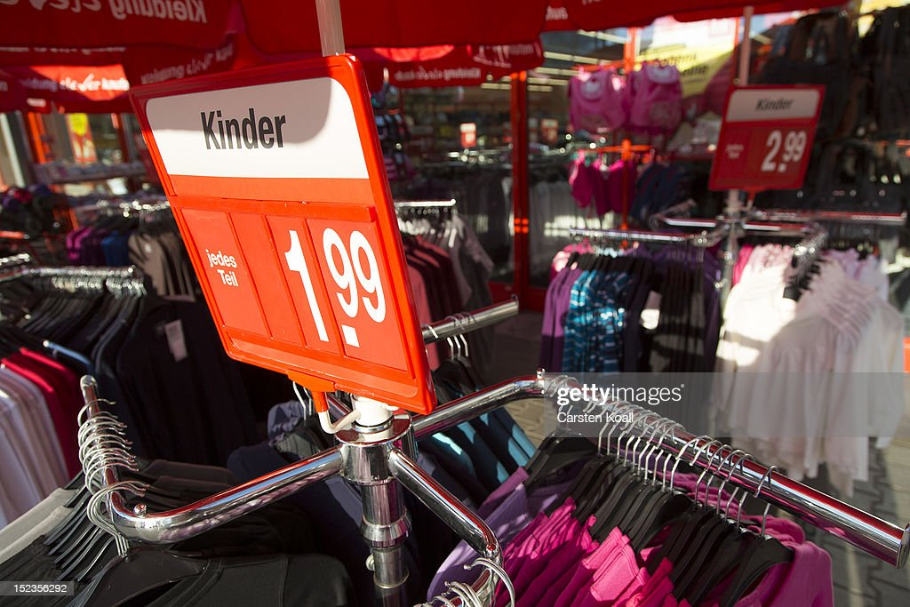 Specials are offered outside a Kik discount textiles store on September 18, 2012 in Berlin, Germany. Kik, a nationwide discount clothing chain in Germany, is reportedly among the companies that sourced some of its production to the garment factory in Karachi, Pakistan, that recently burned down, killing at least 258 people.