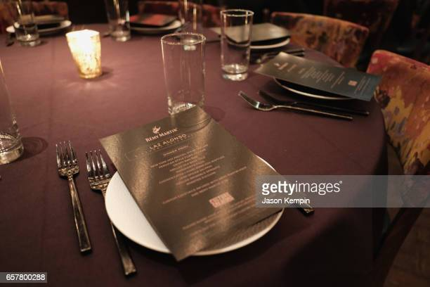 Specialty menus on the tables during the Remy Martin Culture Creators birthday celebration for Laz Alonso at Vandal on March 25 2017 in New York City