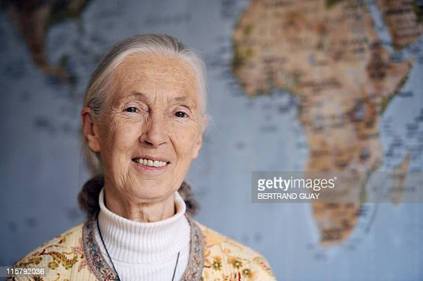 SpeciespeopleGoodallINTERVIEW by Jerome Cartillier British primatologist and conservationist Jane Goodall poses on June 21 2010 in Paris during a...
