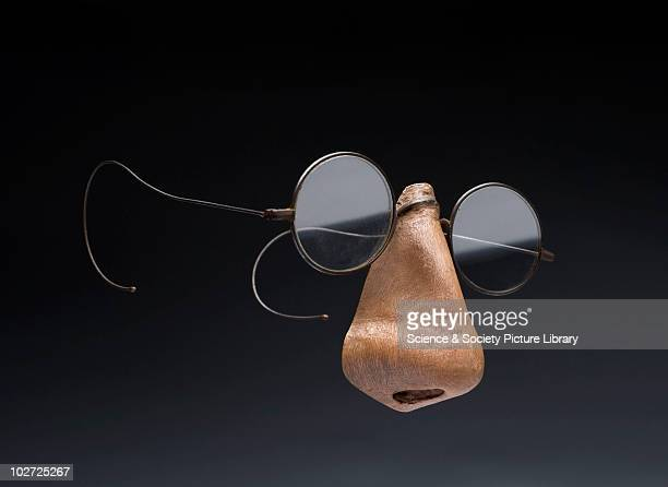 Spectacles with a False Nose Attached England 18901925 False nose spectacles steel frames with plain lenses made for Charles Williams of Kent...