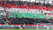 Spectacors of Hungary listen to the anthem during the International Friendly match between Hungary and Ivory Coast at Groupama Arena on May 20 2016...