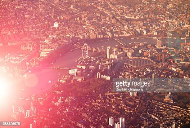 Spectacular aerial view of London at sunset